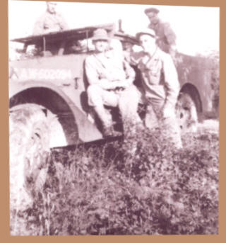 Taken 1942 at Ft. Meade with our Scout Car. Al Manti and Bob Geberth