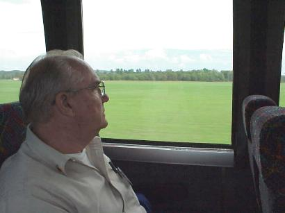 Harold Lindberg watching through window of bus at the Parade Grounds, Ft. McCoy, Sept. 7, 2001