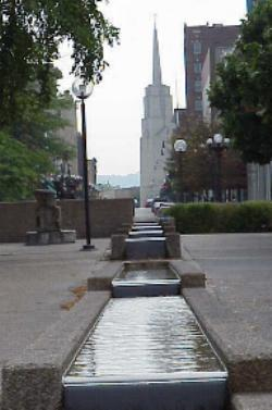 Fountain in front of Raddison Hotel looking East into LaCrosse, WI, Sept. 8, 2001