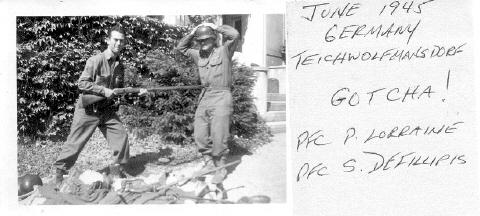June 1945,Teichwolfmansdorf, Germany. PFC Lorraine and PFC Defillipis