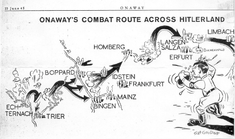 Onaway Map, 15 June 1945